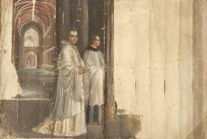 Rebecca Dulcibella Orpen - Two Priests in front of a Church