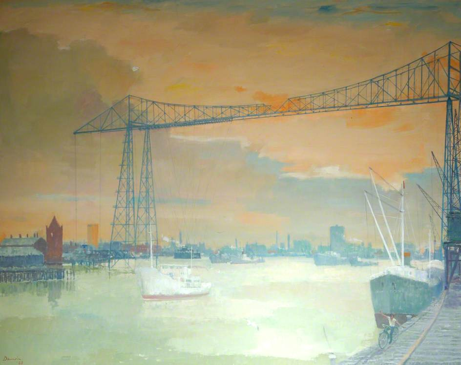 famous painting Transporter Bridge, Middlesbrough, Tees Valley of Robin Darwin