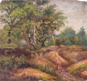 William Henry Hope - Landscape with Trees and a Man at Work