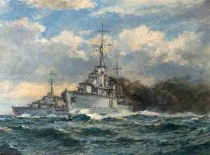 Bernard Finnigan Gribble - A Smokescreen, Naval Engagement