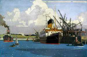 Norman Wilkinson - View of Docks with SS 'Duke of Argyll' at Quay (London, Midland and Scottish Railway poster artwork)