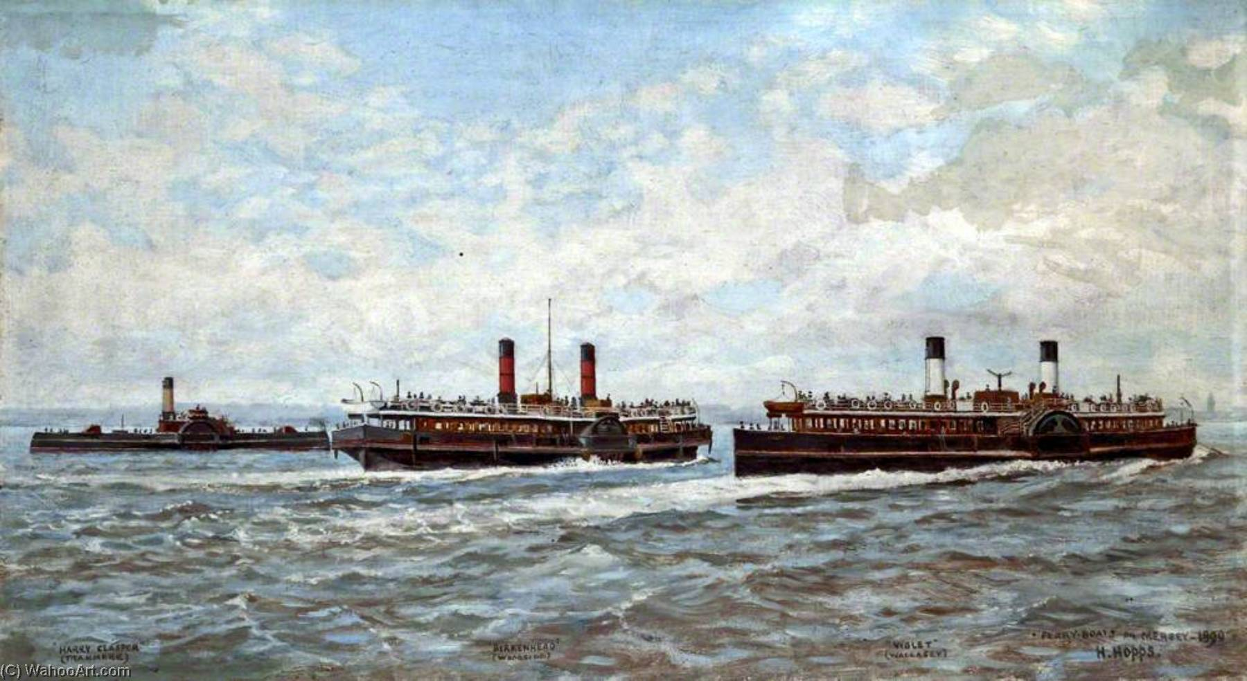 famous painting Ferry Boats on the River Mersey, 1890 of Harold Hopps