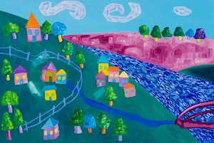Wendy Mcarthur - Pink River Valley (triptych, right panel)