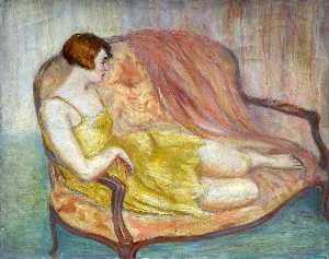 Georges Van Houten - Reclining Lady in Yellow