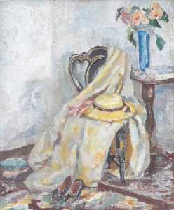 Alan Francis Clutton Brock - Still Life with a Yellow Hat and Cloak on Chair