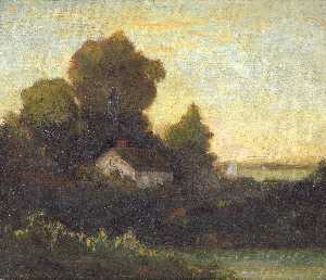 Edward Mitchell Bannister - Untitled (house in woods near lake)