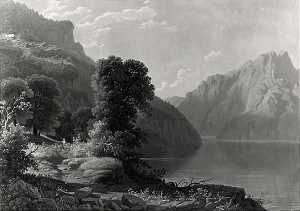 George Cale - A View of a Lake in the Mountains, (painting)
