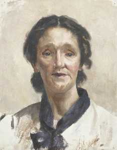 Beryl Fowler - Portrait of a Young Woman Wearing a White Shirt with a Blue Scarf