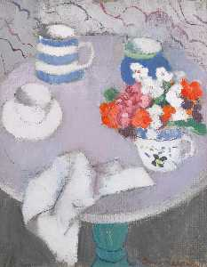 Anne Redpath - Still life with a Round Table (recto), still life (verso)