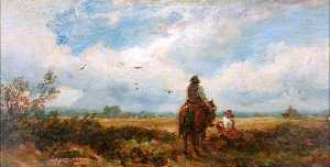 David Cox The Elder - Landscape with Man on a Horse