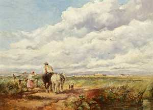 David Cox The Elder - Landscape with Haymakers