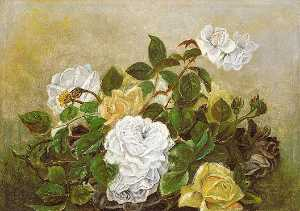 Robert Seldon Duncanson - Roses Fancy Still Life, Still Life with Roses, (painting)