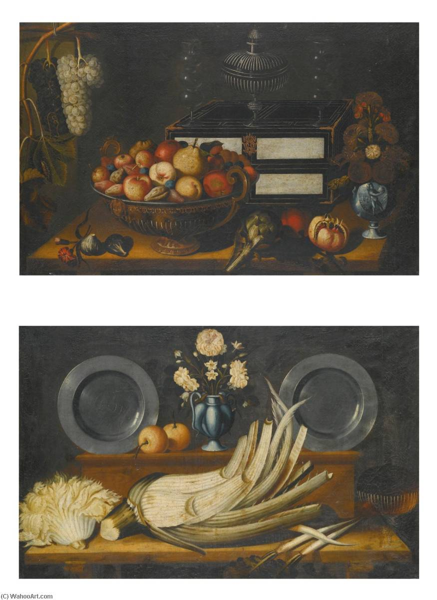 Order Reproductions Pop Art | Still life with a lacquered chest, a bowl of assorted fruit, a vase of flowers, and an artichoke and a pomegranate on the ledge beneath Still life with a cardoon on a shelf, with two pewter plates and a vase of flowers on display on the shelf above by Bernardo Polo | BuyPopArt.com
