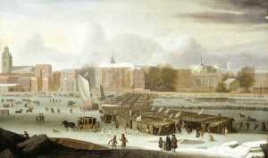 Abraham Hondius Danielsz - A Frost Fair on the Thames at Temple Stairs, London
