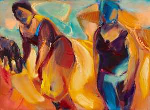 June Redfern - Figures in a Landscape