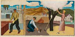Ben Cunningham - Resources of the Soil (Mural Study, Ukiah, California Post Office)