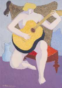 Milton Avery - Nude with Guitar