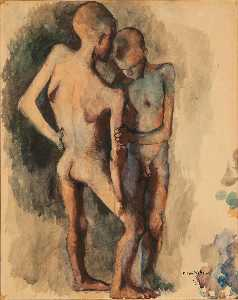 Pavel Tchelitchew - Study for Children Two Nude Boys