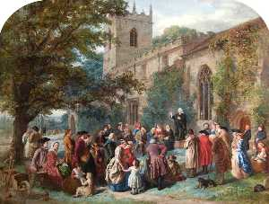 George Washington Brownlow - John Wesley Preaching from His Father's Tomb at Epworth
