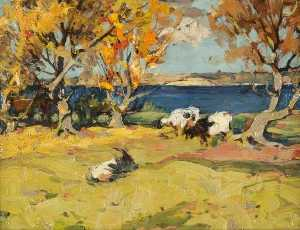 John Reid Murray - Landscape with Goats