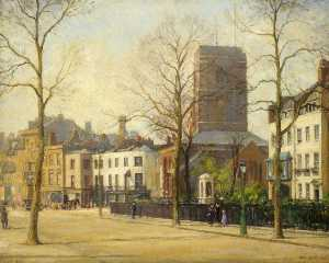 William Edward Fox - Chelsea Old Church and Lombard Terrace