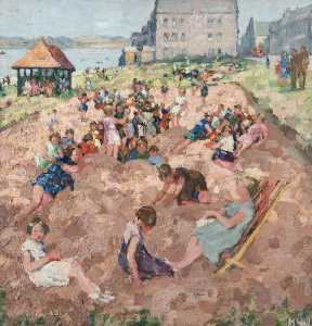 Margaret Isobel Wright - Children in a Sandpit