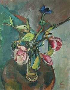 Frieda Salvendy - Anemones and Magnolia in a Vase