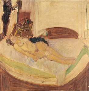 Solomon Steel - Nude on a Green Sofa (Reclining Nude)