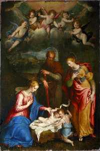 Bernardino Campi - Madonna with Saints Paul, Barbara and John the Baptist