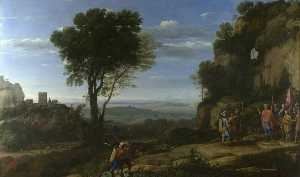 Claude Lorrain (Claude Gellée) - Landscape with David at the Cave of Adullam