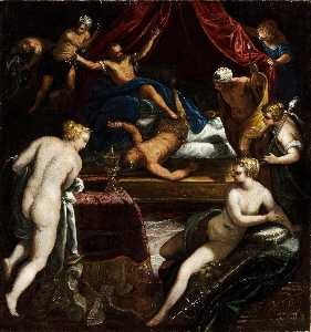 Jacopo Tintoretto - Hercules Expelling the Faun from Omphale's Bed