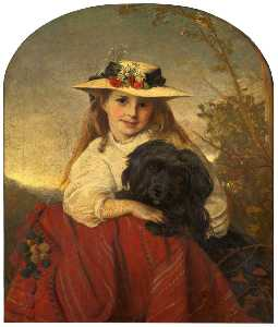 Alfred Corbould - A Young Girl with a Dog
