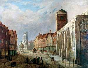 George Fall - The Market Cross with St Crux, York