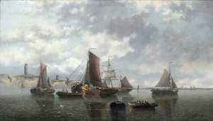 John Warkup Swift - Seascape with Boats