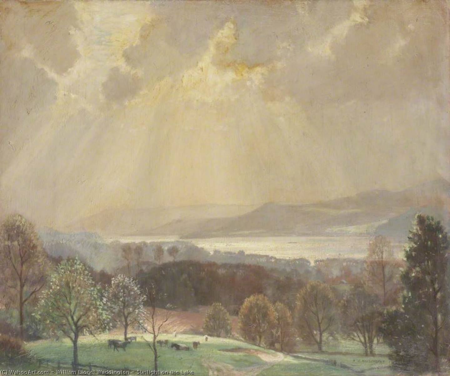 famous painting Sunlight on the Lake of William Lionel Waddington